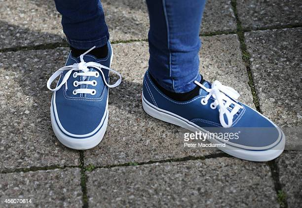 Police display a pair of shoes identical to those worn by missing schoolgirl Alice Gross during a reconstruction of her last known movements before...
