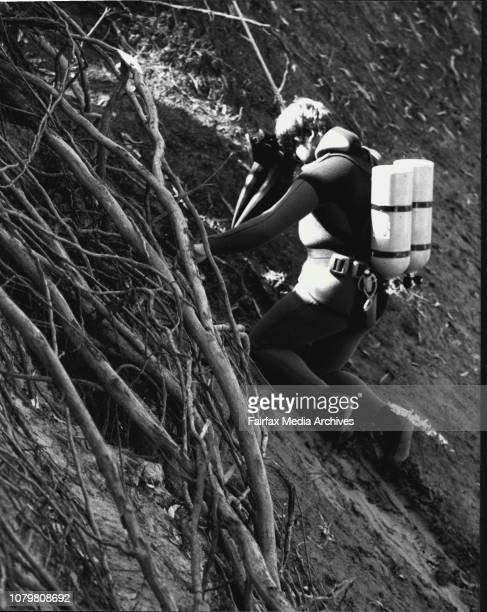 Police divers at the murder scene where they found the second body in the water May 07 1984