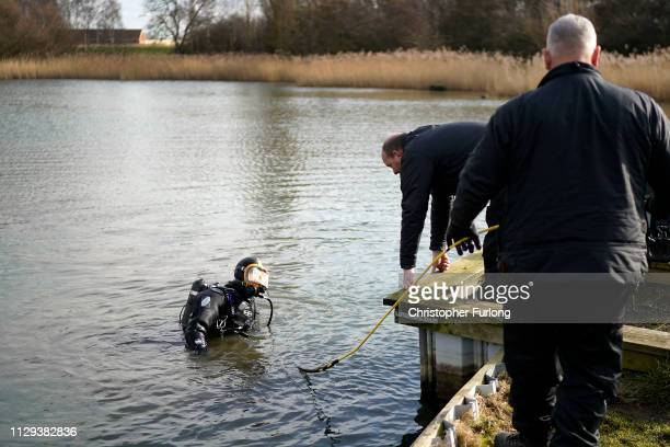 Police divers search the lake in Oak Road Park in Hull near to the home of missing 21yearold student Libby Squire on February 13 2019 in Hull England...