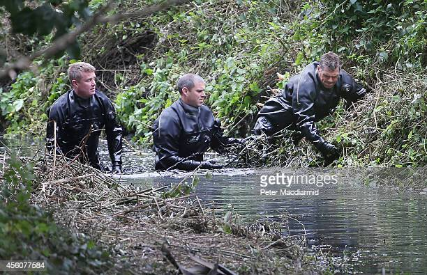 Police divers search the river Brent for clues in the hunt for missing school girl Alice Gross on September 25 2014 in London England The hunt for...