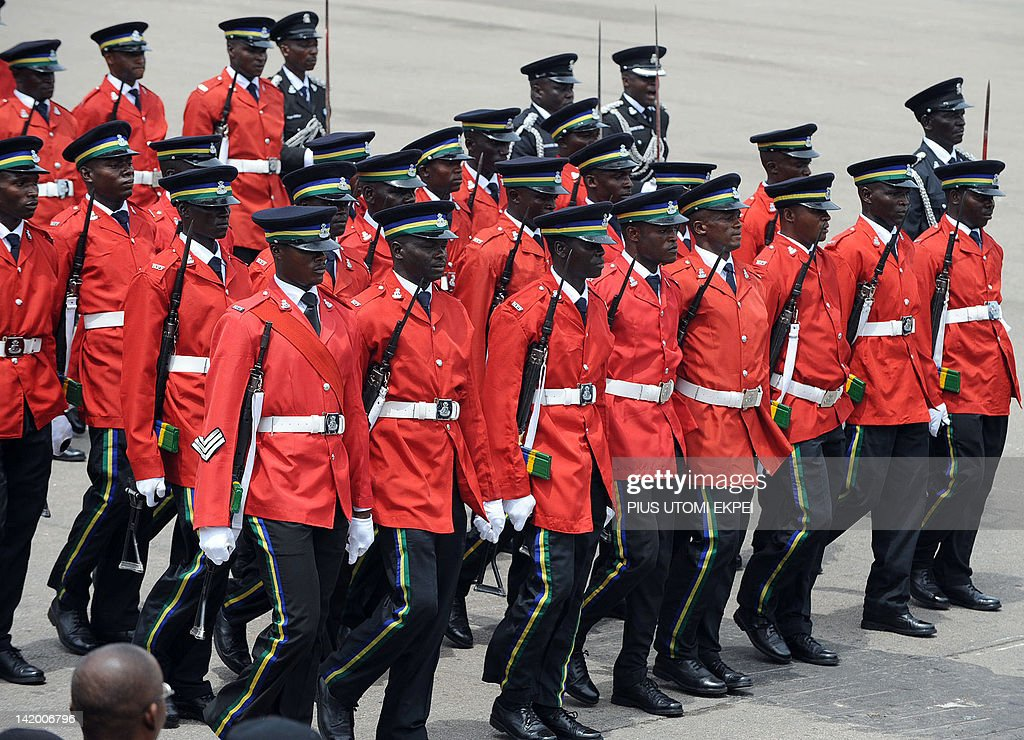 Police dressed with ceremonial uniform parade during the