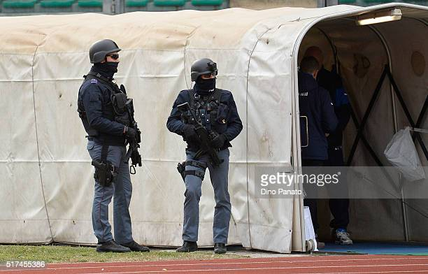 Police during the UEFA European U19 Championship Elite Round match Italy and Israel at Stadio Euganeo on March 25 2016 in Padova Italy