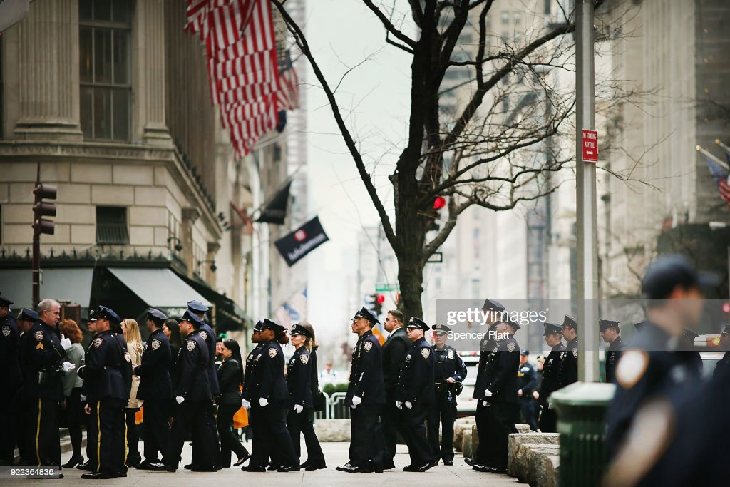 Police enter a memorial Mass at St. PatrickÕs Cathedral for NYPD Officer Edward Byrne almost 30 years after he was executed by a drug gang on February 21, 2018 in New York City. The murder of the 22 year old officer, by a notorious drug dealer Howard (Pappy) Mason as he guarded the Queens home of a witness, shocked the city for its brutality.