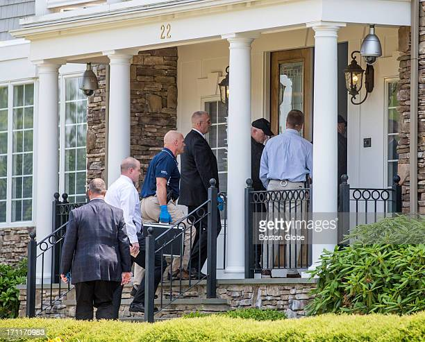 Police entered the home of New England Patriots player Aaron Hernandez in North Attleborough Hernandez has been linked to the ongoing murder...