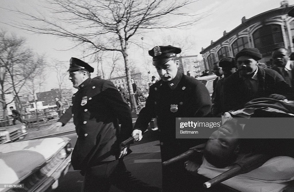 Malcolm X on Stretcher After Shooting : News Photo