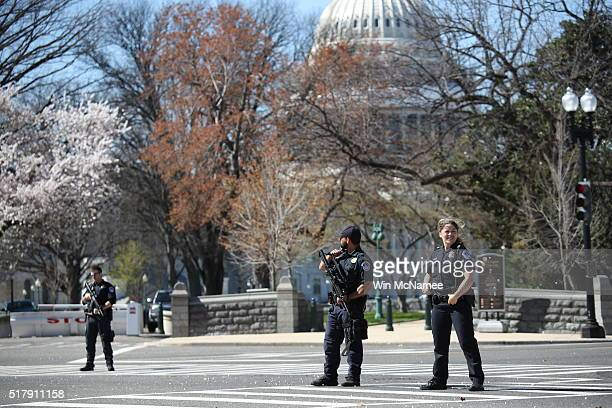 Police establish a perimeter during a lock down after shots were reportedly fired at the US Capitol Visitor Center March 28 2016 in Washington DC A...