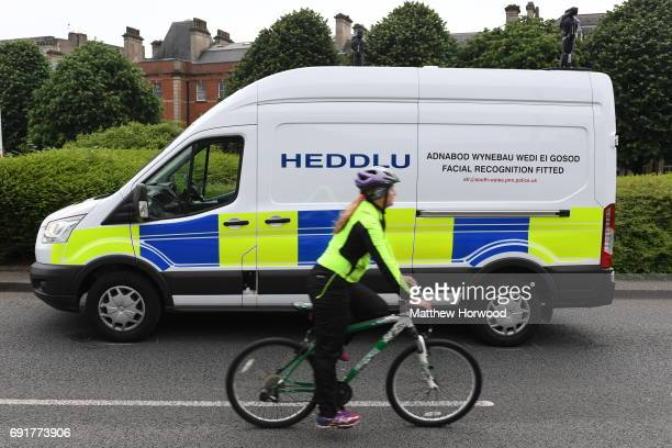 Police facial recognition van is seen at the UEFA Champions Festival at Cardiff Bay on June 2, 2017 in Cardiff, Wales. On Saturday Juventus will play...