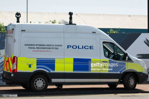 Police facial recognition van seen on June 10, 2018 in Cardiff, United Kingdom.