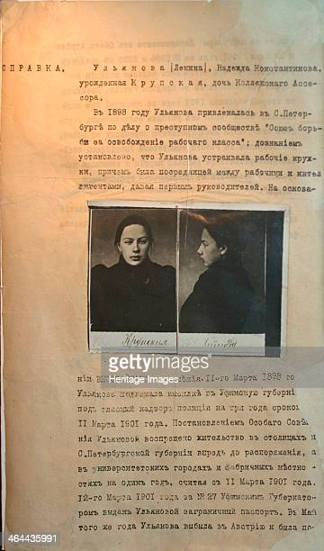 Police file of the 'political criminal' Nadezhda Krupskaya Lenin's wife before 1916 Nadezhda Krupskaya and Lenin married in 1898 when they were both...