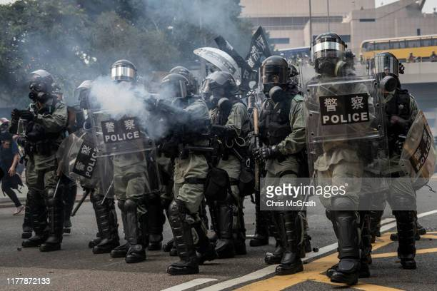 Police fire tear gas at prodemocracy protesters during clashes after a march on September 29 2019 in Hong Kong China Prodemocracy demonstrations have...