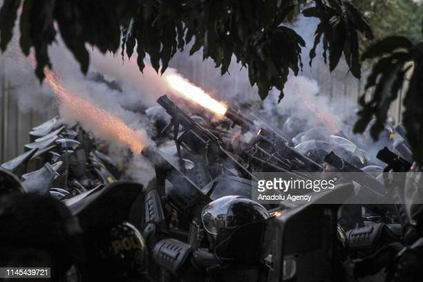 Police fired tear gas during a clash with mobs in the Tanah Abang Market area Jakarta Indonesia on Wednesday morning 22 May 2019 This clash triggered...