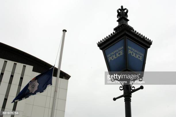 A Police flag flies at halfmast as the the funeral procession of murdered Special Constable Nisha PatelNasri passes Wembley Police Station in North...
