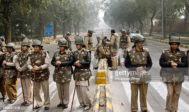 Police force deployed outside the Hyderabad house in wake of demonstrations calling for stronger measures to combat the wave of sexual violence...