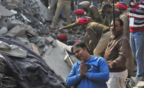 Police Force NDRF and Army personnel carrying out rescue operations after a five storied building of Plastic Manufacturing company collapsed caused...