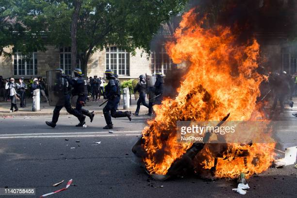 Police forces are charging demonstrators during the interunion demonstration on May 1 in Paris which also includes yellow vests in Paris France on...