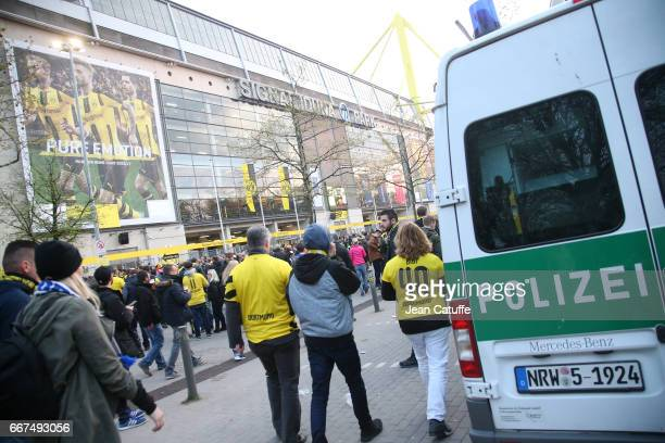 Police forces are displayed during the later postponed UEFA Champions League Quarter Final first leg match between Borussia Dortmund and AS Monaco at...