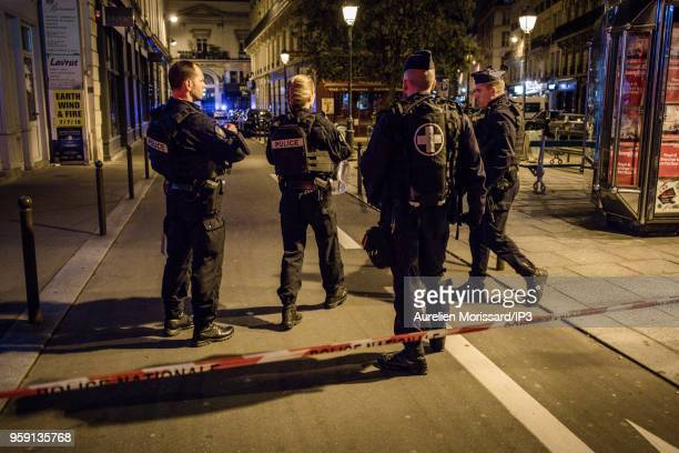 Police forces deployed after the knife attack at Monsigny street and Saint Augustin street, on May 12, 2018 in Paris, France. There would be 1 dead...