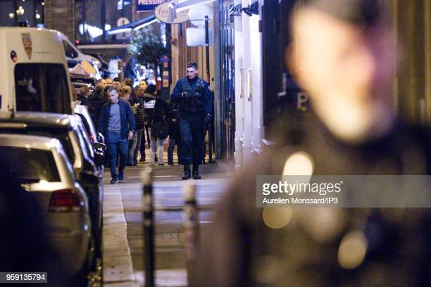 Police forces deployed after the knife attack at Monsigny street and Saint Augustin street on May 12 2018 in Paris France There would be 1 dead and 4...