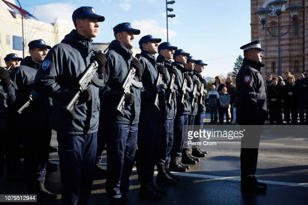 Police forces line up during the parade in Banja Luka on January 9 2019 in Banja Luka Bosnia and Herzegovina Republika Srpska the Serbian entity of...