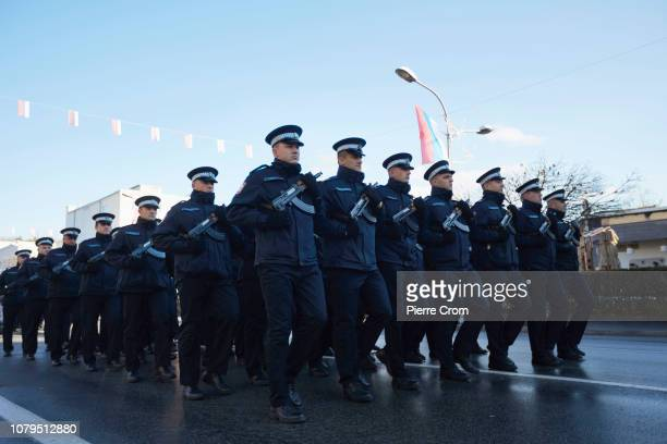 Police forces march during the parade in Banja Luka on January 9 2019 in Banja Luka Bosnia and Herzegovina Republika Srpska the Serbian entity of...