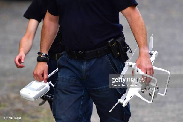 Police forces prepare a drone to overfly an allotment as police continue to search the area in relation to the disappearance of Madeleine McCann on...