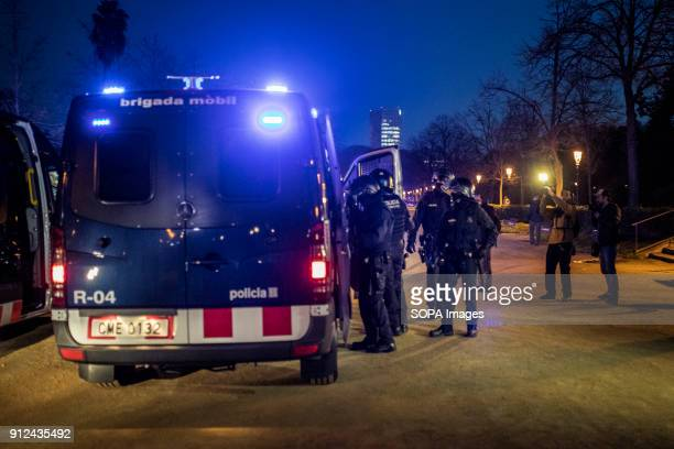 Police forces seen during a demonstration to support Carles Puigdemont former Catalan President in front of the Catalonia Parliament in Barcelona...
