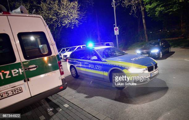 Police forces seen near the Signal Iduna Park after the match between Borussia Dortmund and AS Monaco was cancelled after the team bus of the...