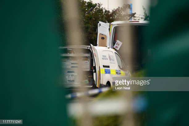 Police forensic investigation van is parked near the site where 39 bodies were discovered in the back of a lorry on October 23, 2019 in Thurrock,...