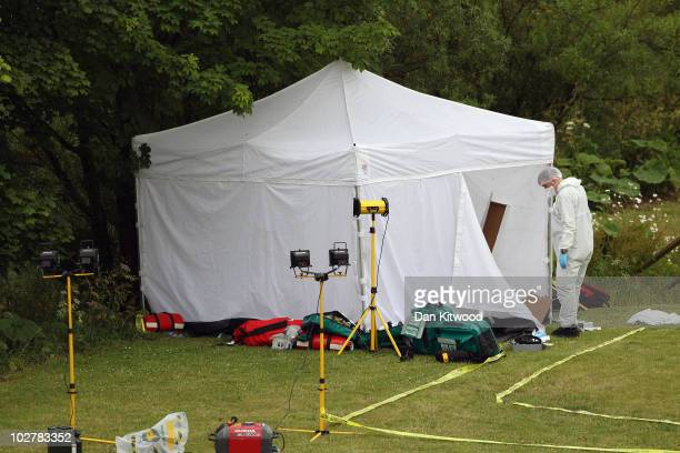 Police forensic officers examine the crime scene where Raoul Moat who had evaded police capture for seven days, shot himself on July 10, 2010 in...