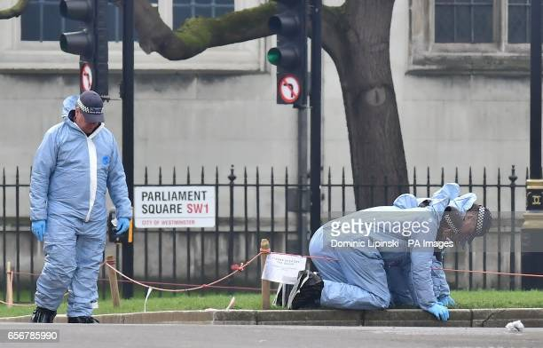 Police forensic officers in Parliament Square outside the Houses of Parliament in London after seven people were arrested in raids in London...