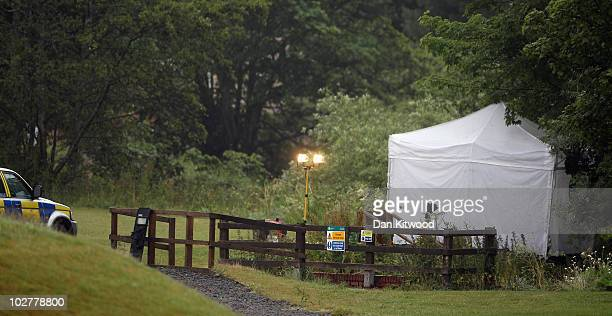 Police forensic tent is erected next to the riverbank where Raoul Moat who had evaded police capture for seven days, shot himself on July 10, 2010 in...