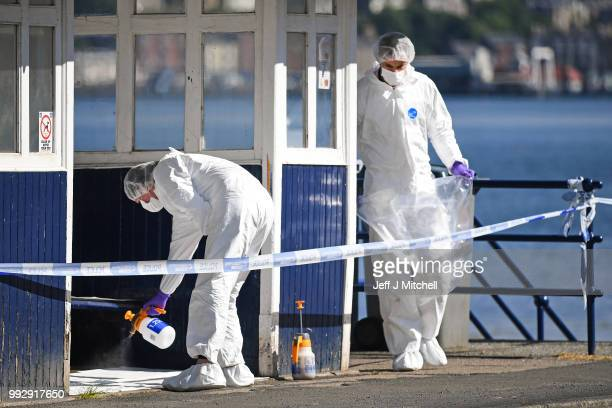 Police forensics continue their investigations into the murder of Alesha MacPhail on the Isla of Bute on July 6 2018 in Rothesay Isle of Bute...