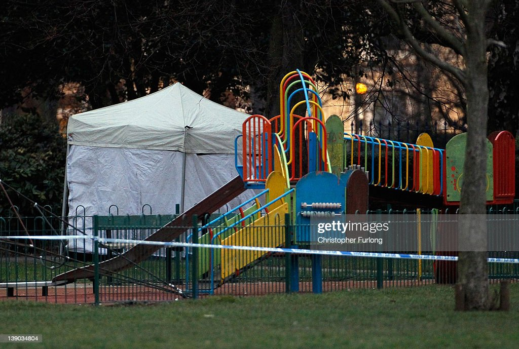 A police forensics tent covers the scene in Elmfield Park, Doncaster, following the death of a 13-year-old girl on February 15, 2012 in Doncaster, England. Police investigating the murder are questioning a 26year-old woman who remains in police custody.
