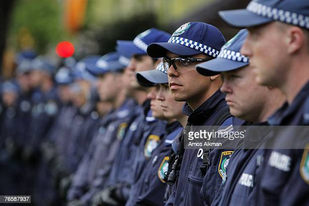 Police form a line blocking protesters at the 'Stop Bush Make Howard History Rally' held in Hyde Park on September 8 2007 in Sydney Australia The...