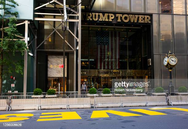 Police from the New York Police Department stand in front of Trump Tower along Fifth Avenue where a mural, honoring the Black Lives Matter movement,...