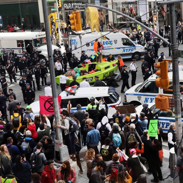 NY: Extinction Rebellion Climate Protestors Shut Down NYC's Times Square