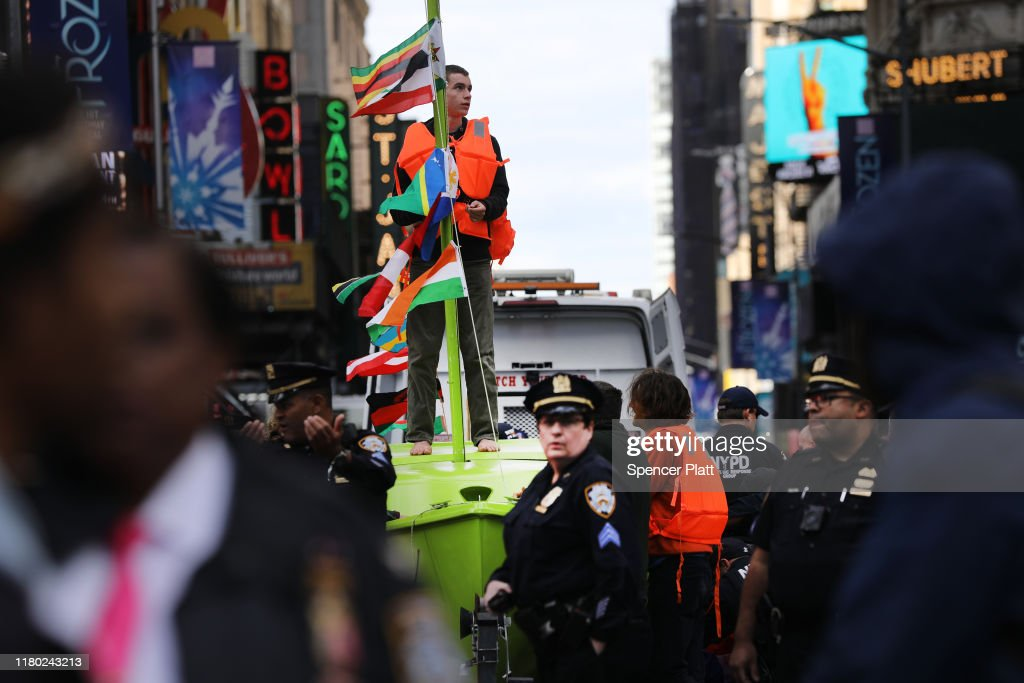 Extinction Rebellion Climate Protestors Shut Down NYC's Times Square : News Photo
