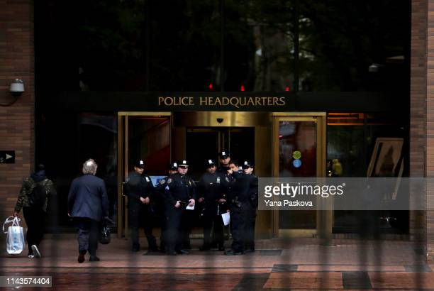 Police gather before the trial of Officer Daniel Pantaleo at One Police Plaza on May 13 2019 in New York City Officer Pantaleo faces charges of using...