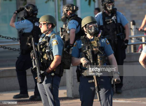 Police gather near a protest May 28 2020 in St Paul Minnesota Today marks the third day of ongoing protests after the police killing of George Floyd...