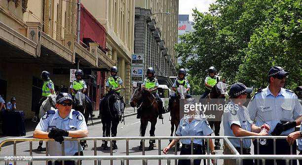 Police gather on Russell Street Melbourne CBD for the final day of protests against the G20 Summit 19 November 2006 AFR Picture by JAMES DAVIES