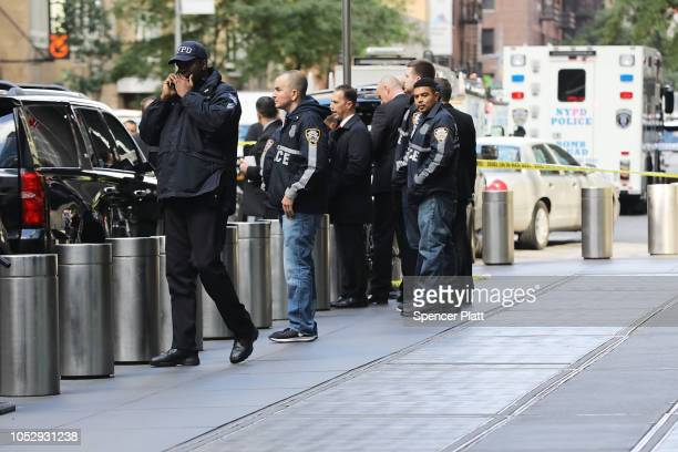 Police gather outside the Time Warner Center after an explosive device was sent to the CNN offices this morning on October 24 2018 in New York City...