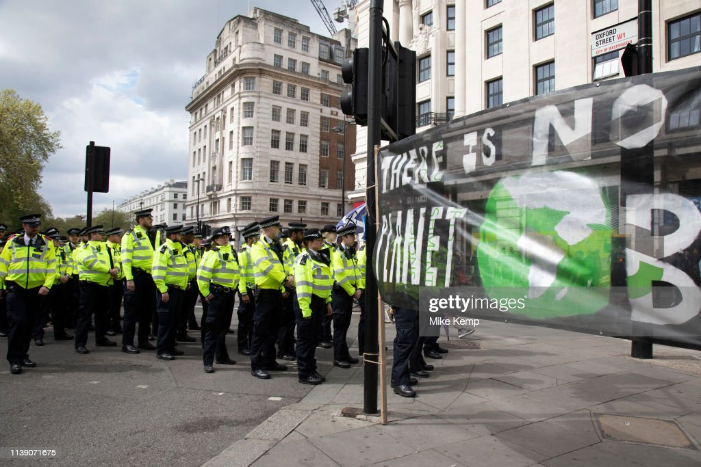GBR: Police Clear Oxford Street And Arrest Extinction Rebellion Climate Change Activists