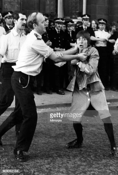 Police grapple with demonstrators during the National Front demo in Glasgow 24th May 1975