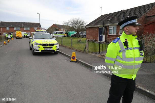 Police guard an address in Gillingham Dorset as Forensic teams remove a recovery truck used following the Salisbury nerve agent attack on March 14...