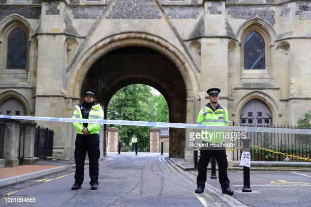 Police guard an entrance to Forbury Gardens on June 21, 2020 in Reading, England. A lone attacker targeted groups of people socialising in Forbury...