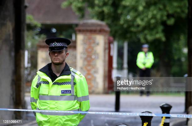 Police guard an entrance to Forbury Gardens on June 21 2020 in Reading England A lone attacker targeted groups of people socialising in Forbury...