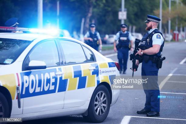 Police guard Deans Rd as evidence gathering continues at the Al Noor mosque March 17, 2019 in Christchurch, New Zealand. 49 people are confirmed...