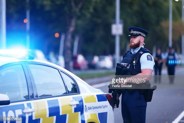 Police guard Deans Rd as evidence gathering continues at the Al Noor mosque March 17 2019 in Christchurch New Zealand 49 people are confirmed dead...