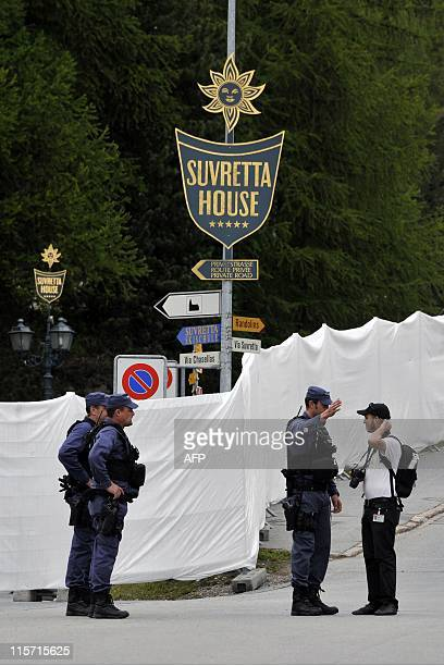 Police guard on June 9, 2011 the Suvretta House five-star hotel in the chic Swiss ski station of St Moritz, where the Bilderberg Group is holding its...