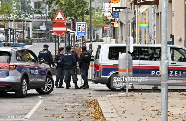 Police guard stand near Schwedenplatz square following a shooting in the center of Vienna on November 3, 2020 one day after at least three people...